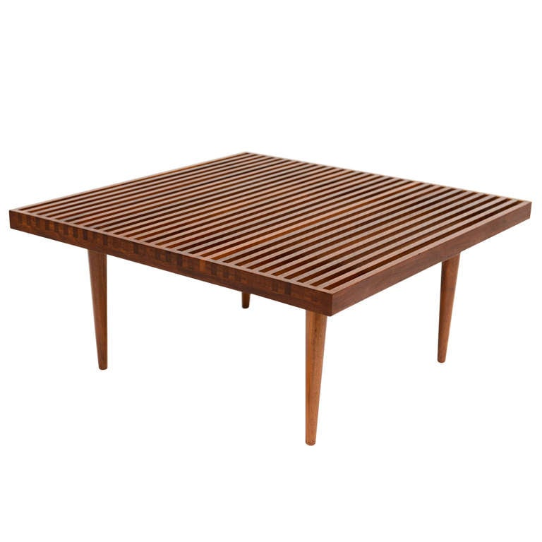Rare Fine Danish Teak Slat Top Cocktail Coffee Table At 1stdibs