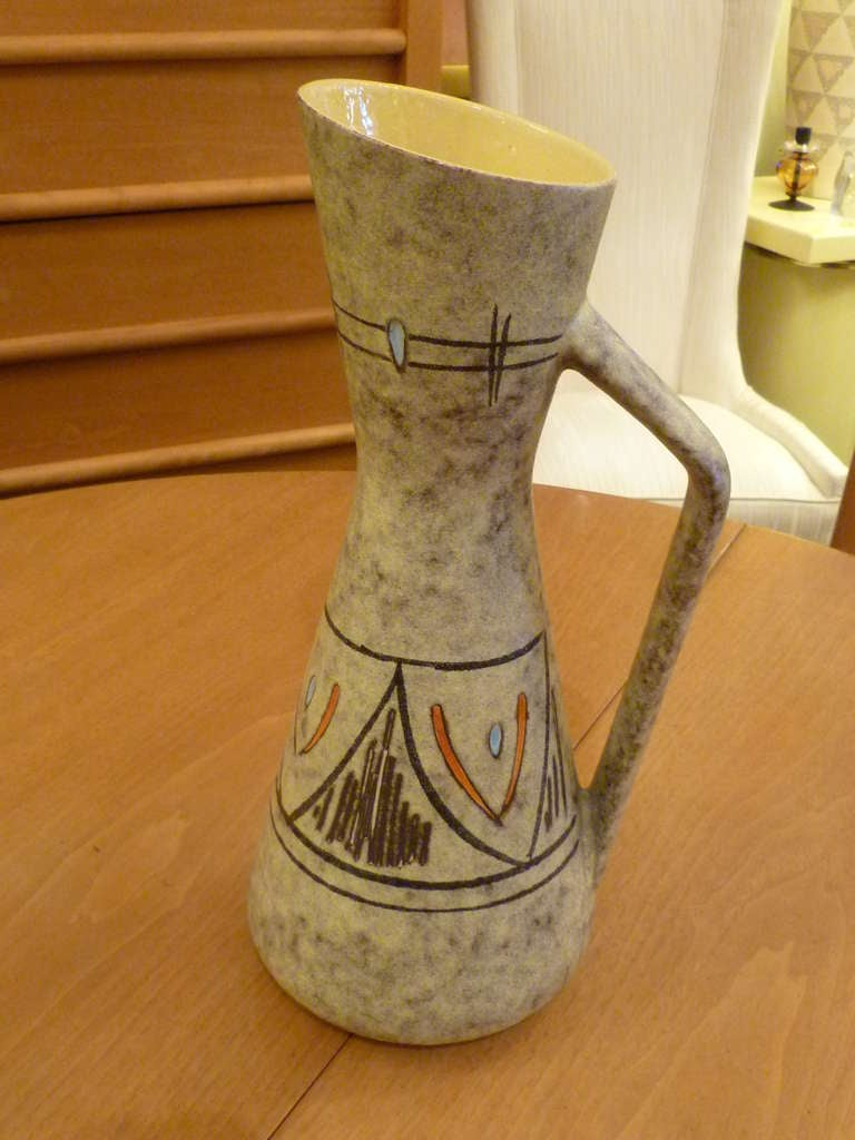Mid-Century Modern Tall 1950s German Ewer Form Vase by Scheurich For Sale