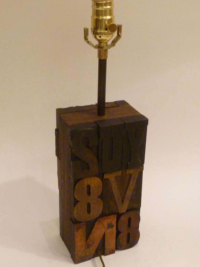 Great 1960s Print Block Letters Collage Table Lamp For