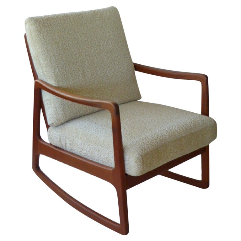 classic ole wanscher teak rocking chair and
