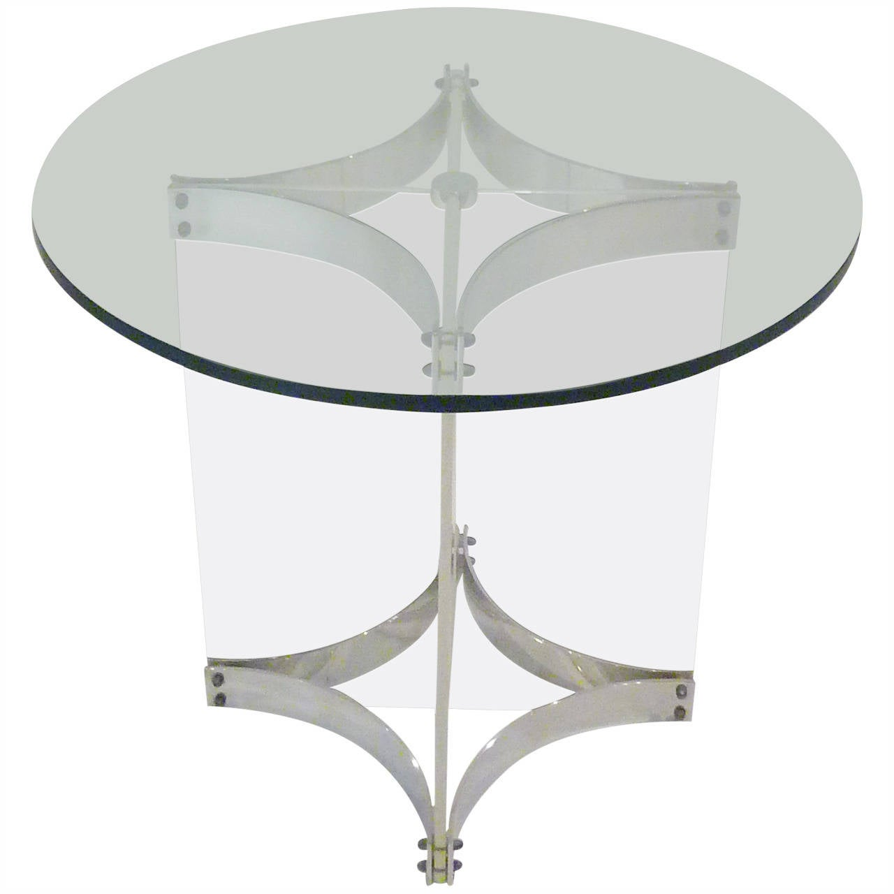 Alessandro Albrizzi Lucite Glass And Chrome Side Table 1