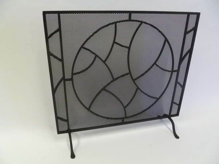Modernist Art Deco Wrought Iron Fire Screen At 1stdibs