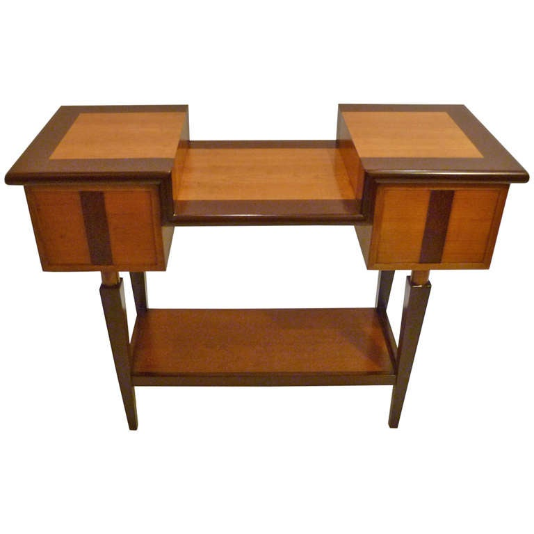 Unique Sofa Tables: Unique Architectural Mixed Wood Console Table At 1stdibs