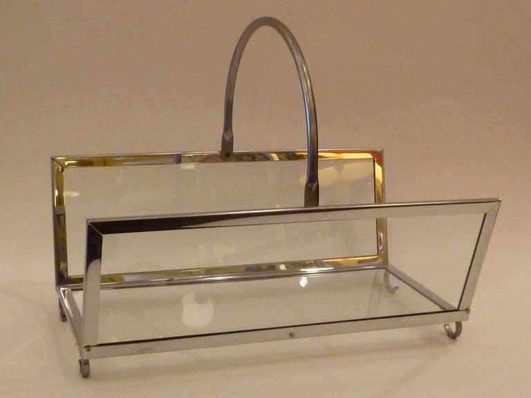 Large Chrome & Glass Magazine Rack Log Holder 3