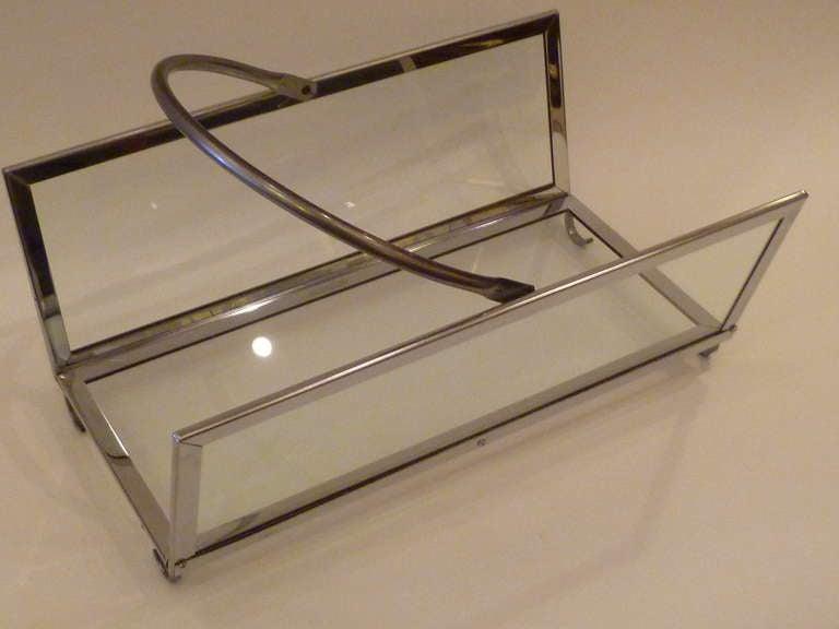 Large Chrome & Glass Magazine Rack Log Holder 5