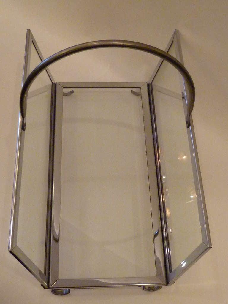 Large Chrome & Glass Magazine Rack Log Holder 6