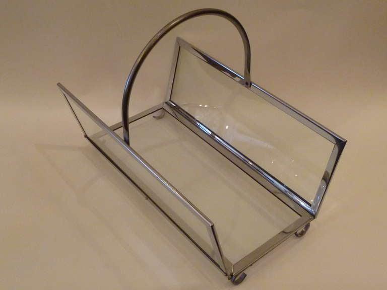 Large Chrome & Glass Magazine Rack Log Holder 7