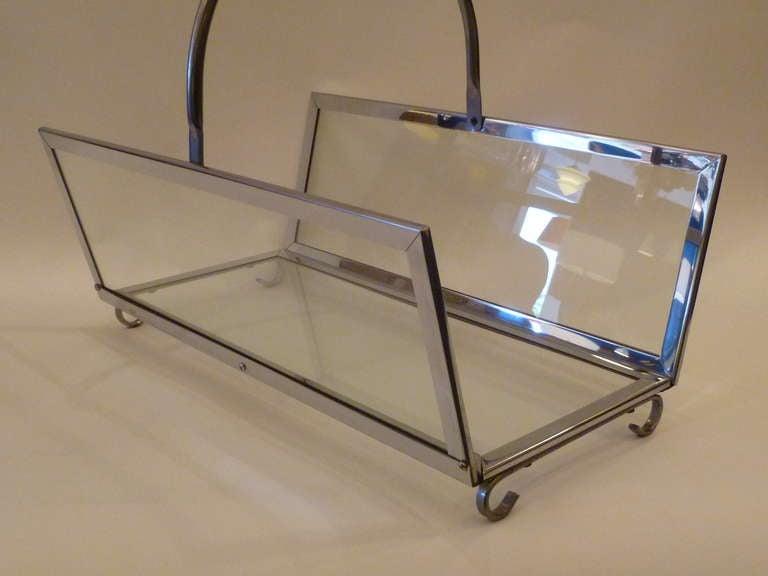 Large Chrome & Glass Magazine Rack Log Holder 8