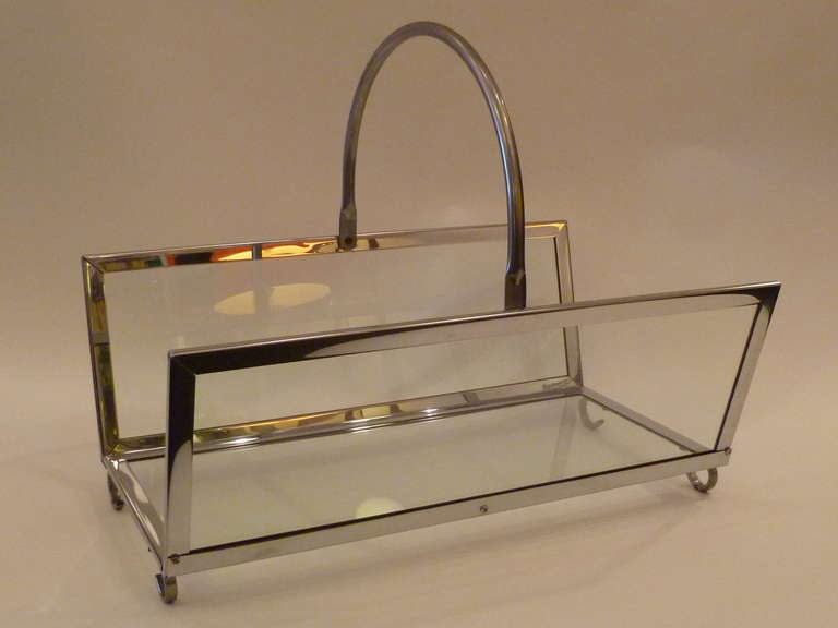 Large Chrome & Glass Magazine Rack Log Holder 9
