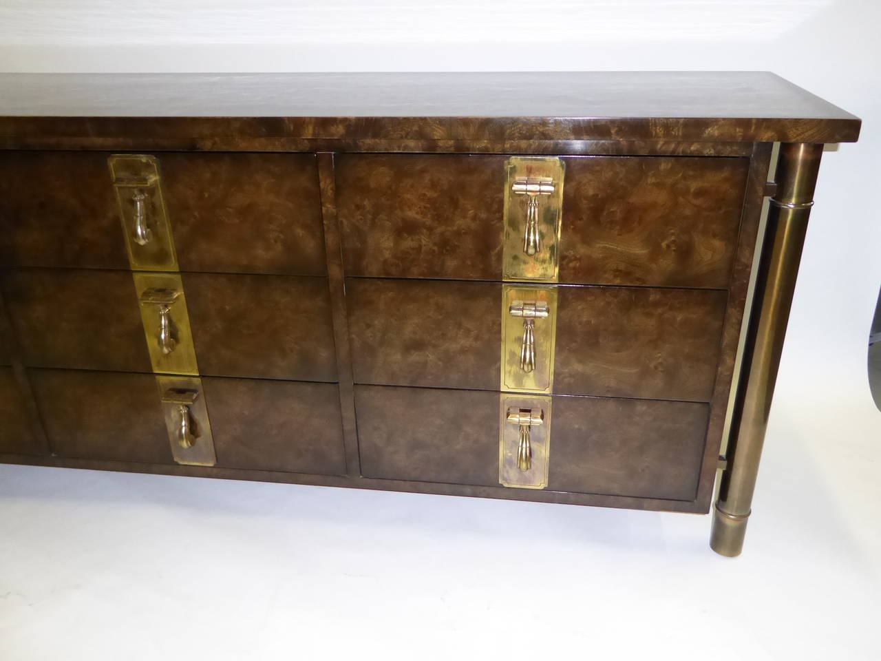 Patinated Mastercraft Burl Elm Nine-Drawer Dresser by William Doezema For Sale