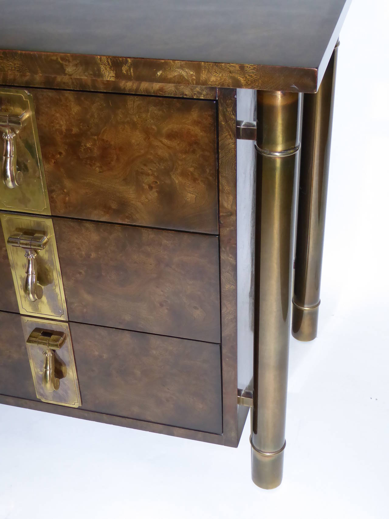 Brass Mastercraft Burl Elm Nine-Drawer Dresser by William Doezema For Sale