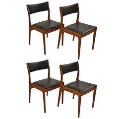 Johannes Andersen for Uldum Mobelfabrik Danish Teak Dining Chairs