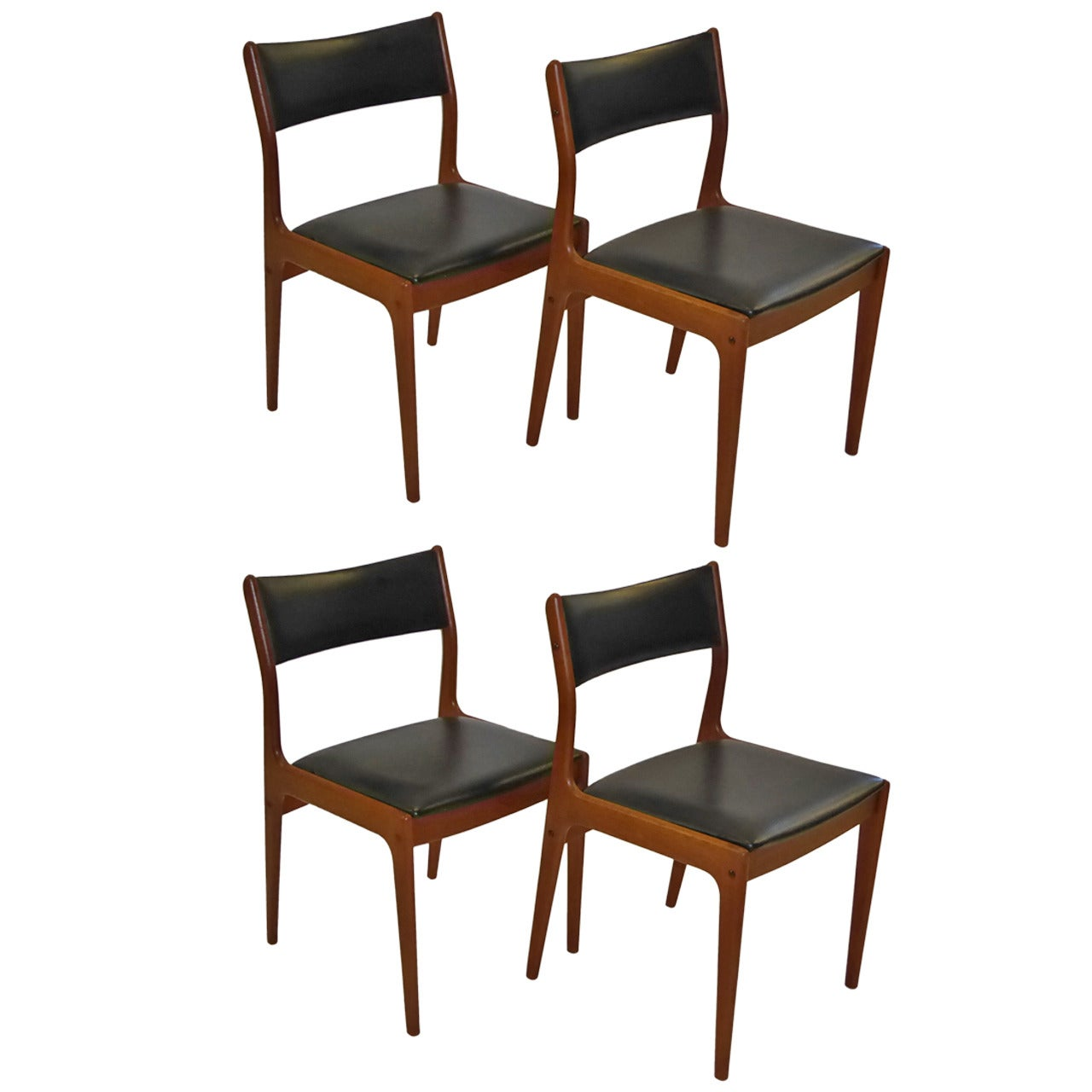 Johannes Andersen for Uldum Mobelfabrik Danish Teak Dining Chairs