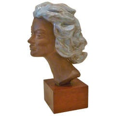 Paul Sersté Glazed Terra Cotta Bust of a Woman