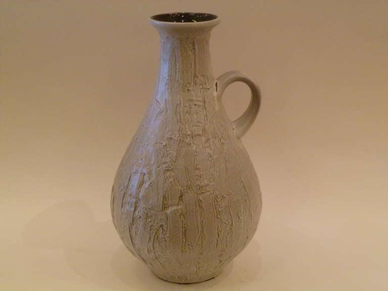 Large 1950s Clemens & Huhn Textured German Pottery Krug Floor Vase For Sale 1