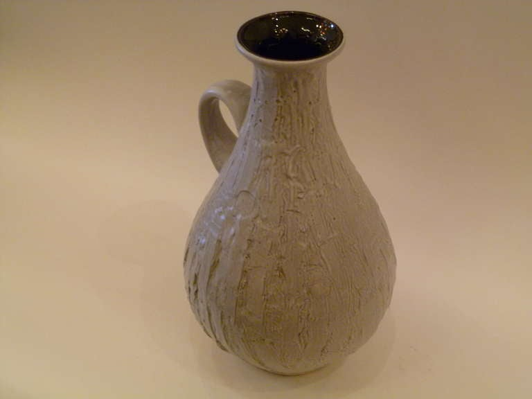 Mid-Century Modern Large 1950s Clemens & Huhn Textured German Pottery Krug Floor Vase For Sale
