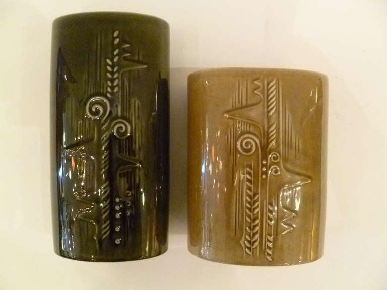 Scandinavian Modern Olle Alberius 1960s Organic Lummer Vases for Rorstrand Sweden For Sale