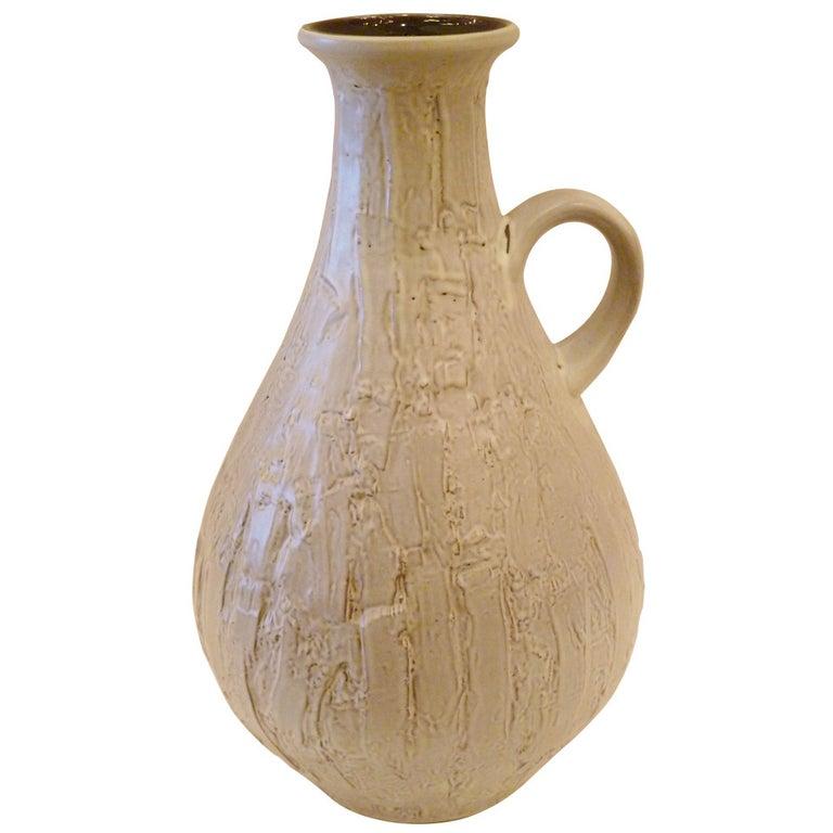 Large 1950s Clemens & Huhn Textured German Pottery Krug Floor Vase For Sale