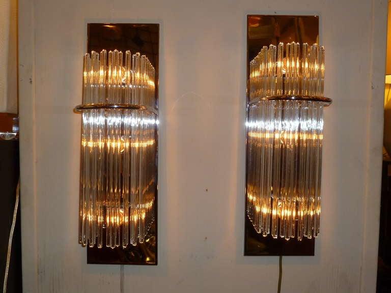 Sciolari Glass Rods Chrome Sconces by Lightolier at 1stdibs