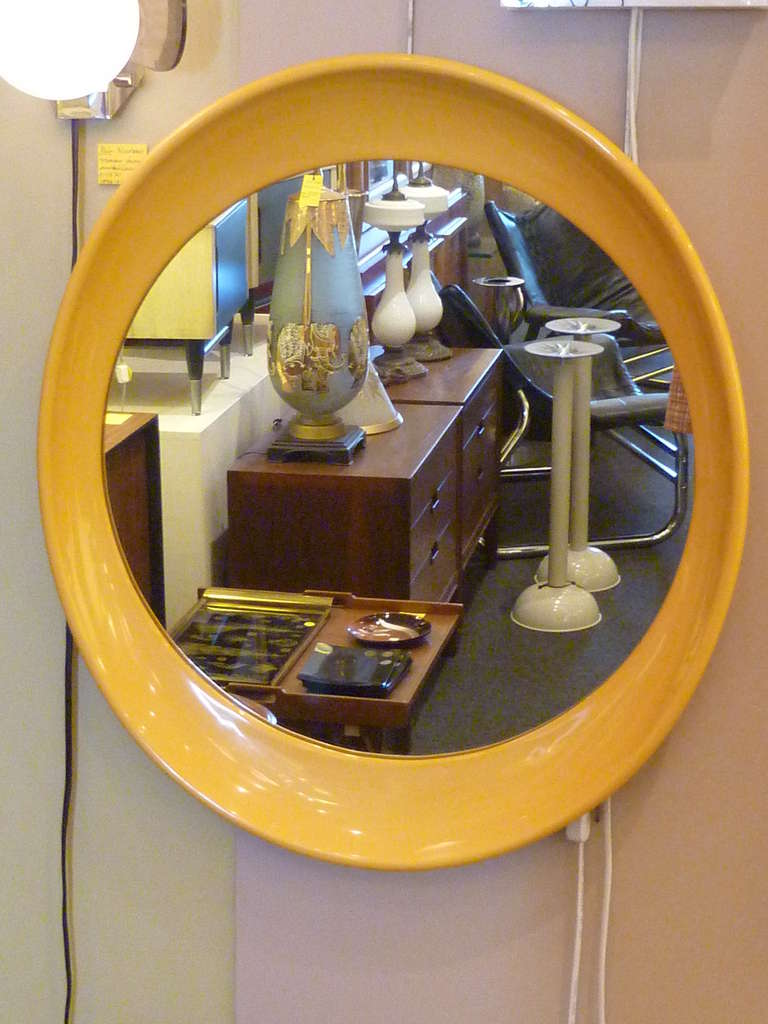 1970s Op To Pop Panton Style Sunny Yellow Oval Mirror At