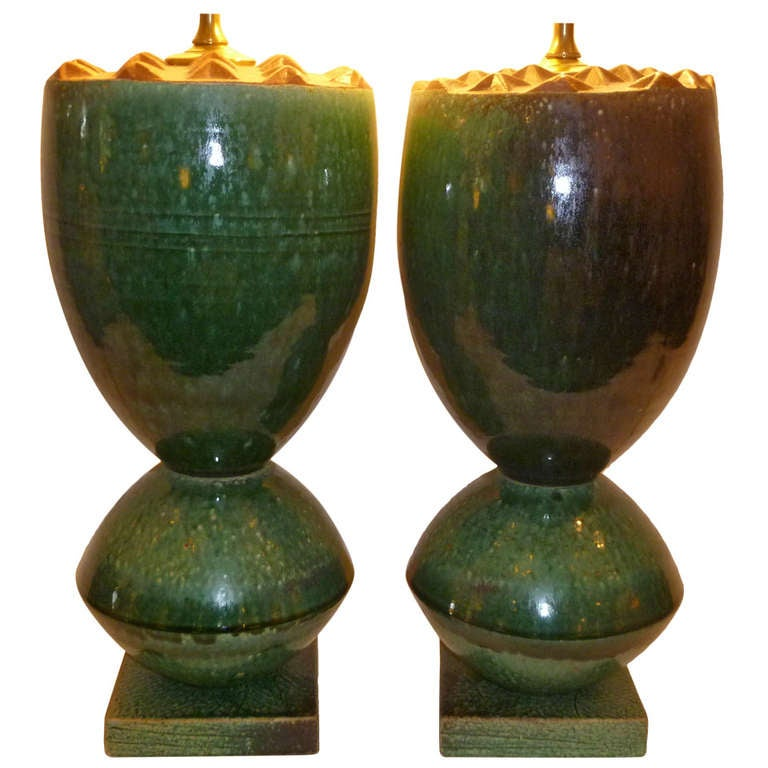 Fat Organic Ransmeier Pottery Table Lamps For Sale