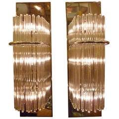 Sciolari Glass Rods Chrome Sconces by Lightolier