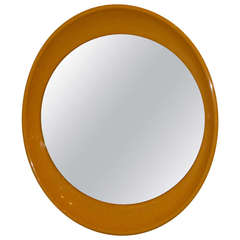 1970s Op To Pop Panton Style Sunny Yellow Oval Mirror