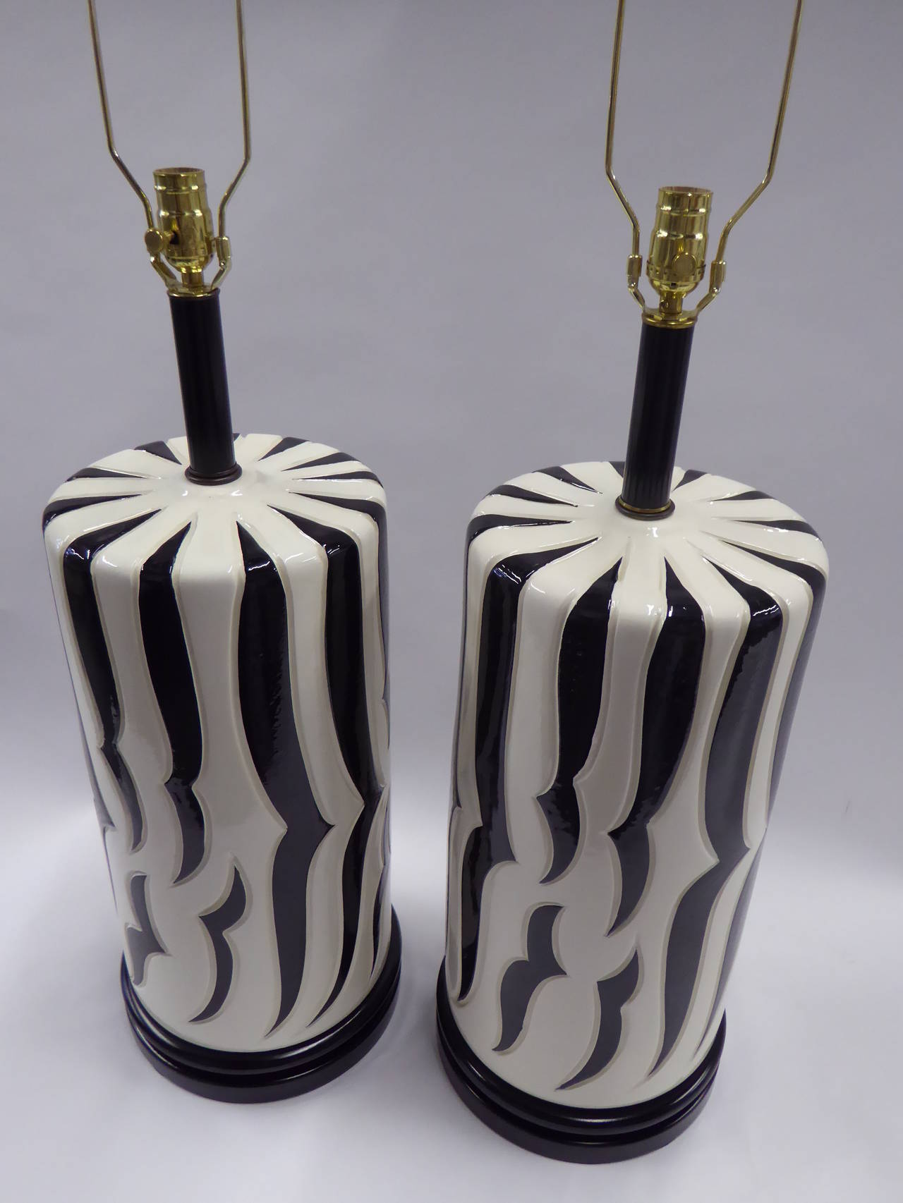 Hollywood Regency Monumental Tony Duquette Style Zebra Stripe Table Lamps For Sale