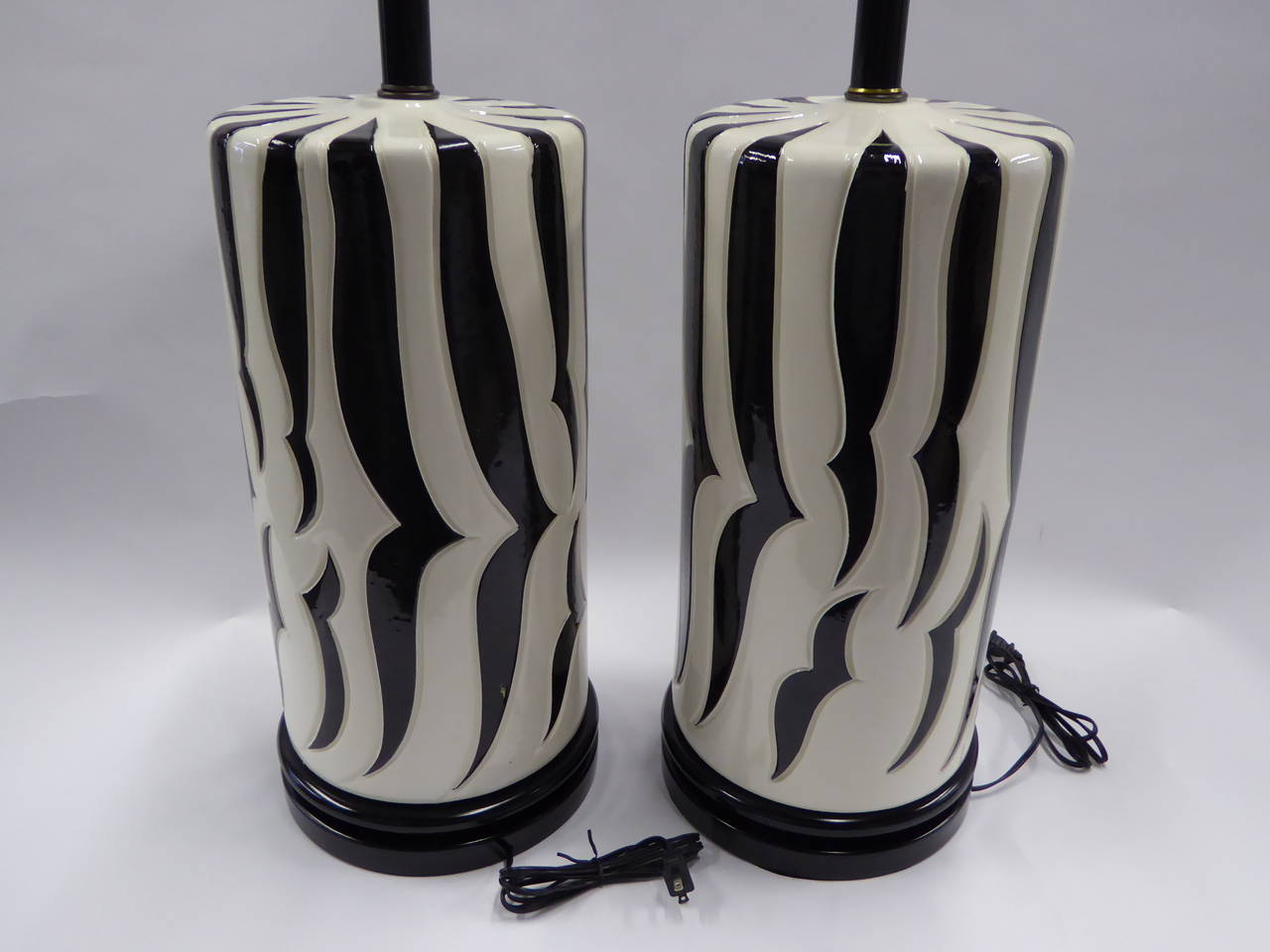 American Monumental Tony Duquette Style Zebra Stripe Table Lamps For Sale