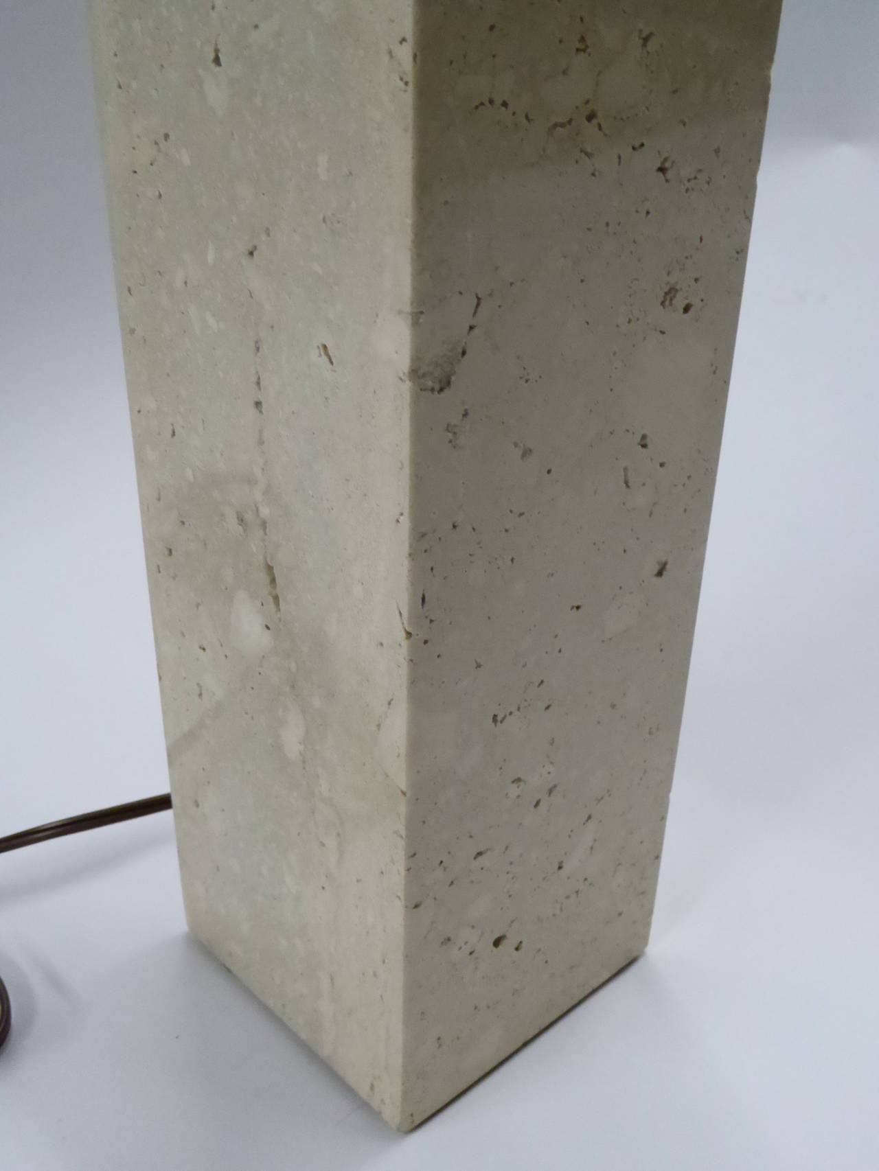 Robsjohn-Gibbings Style Travertine Marble Table Lamp For Sale 1