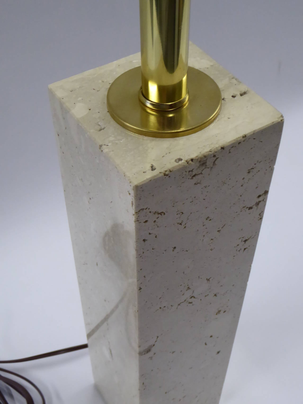 American Robsjohn-Gibbings Style Travertine Marble Table Lamp For Sale