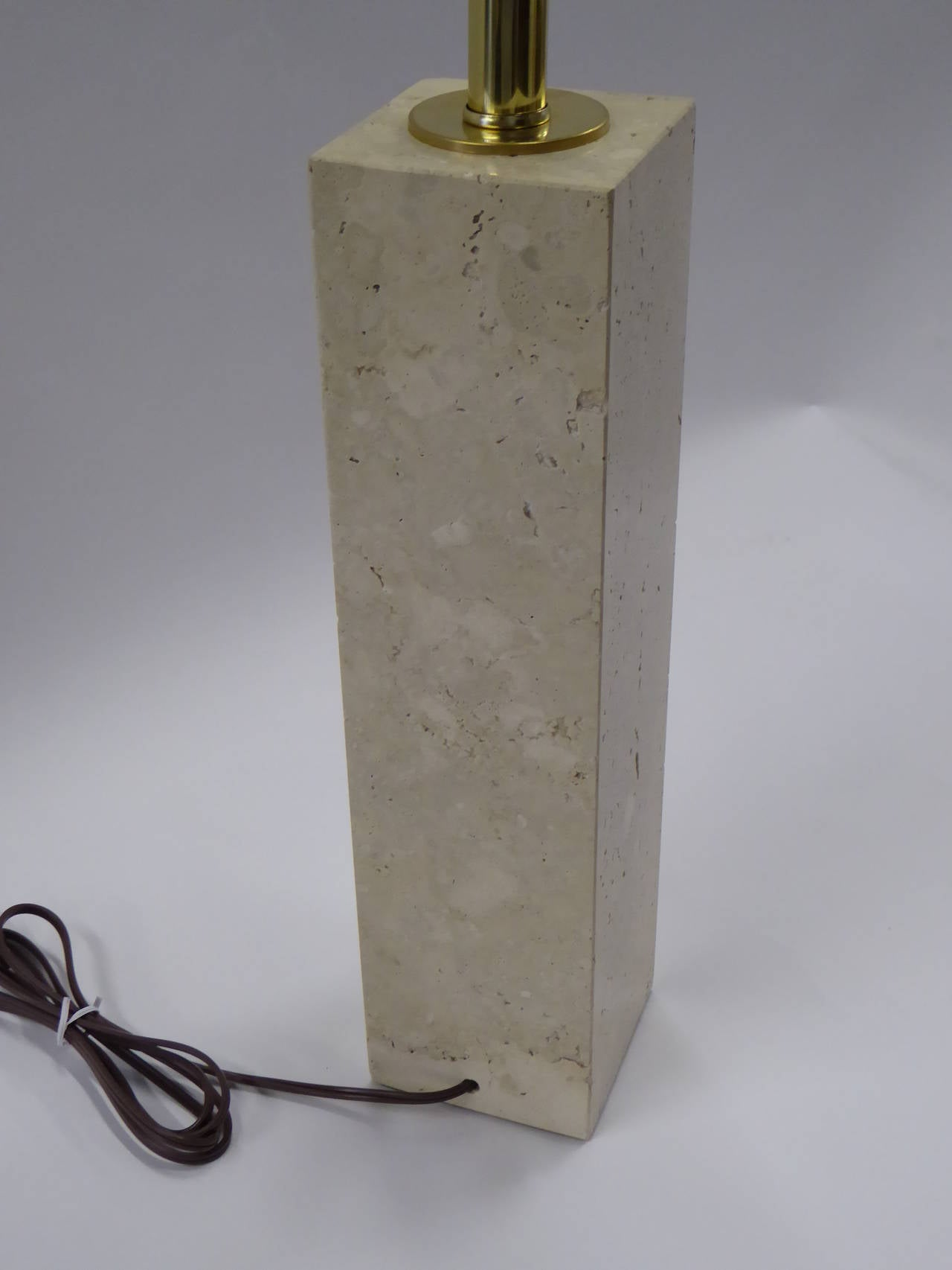 Mid-Century Modern Robsjohn-Gibbings Style Travertine Marble Table Lamp For Sale