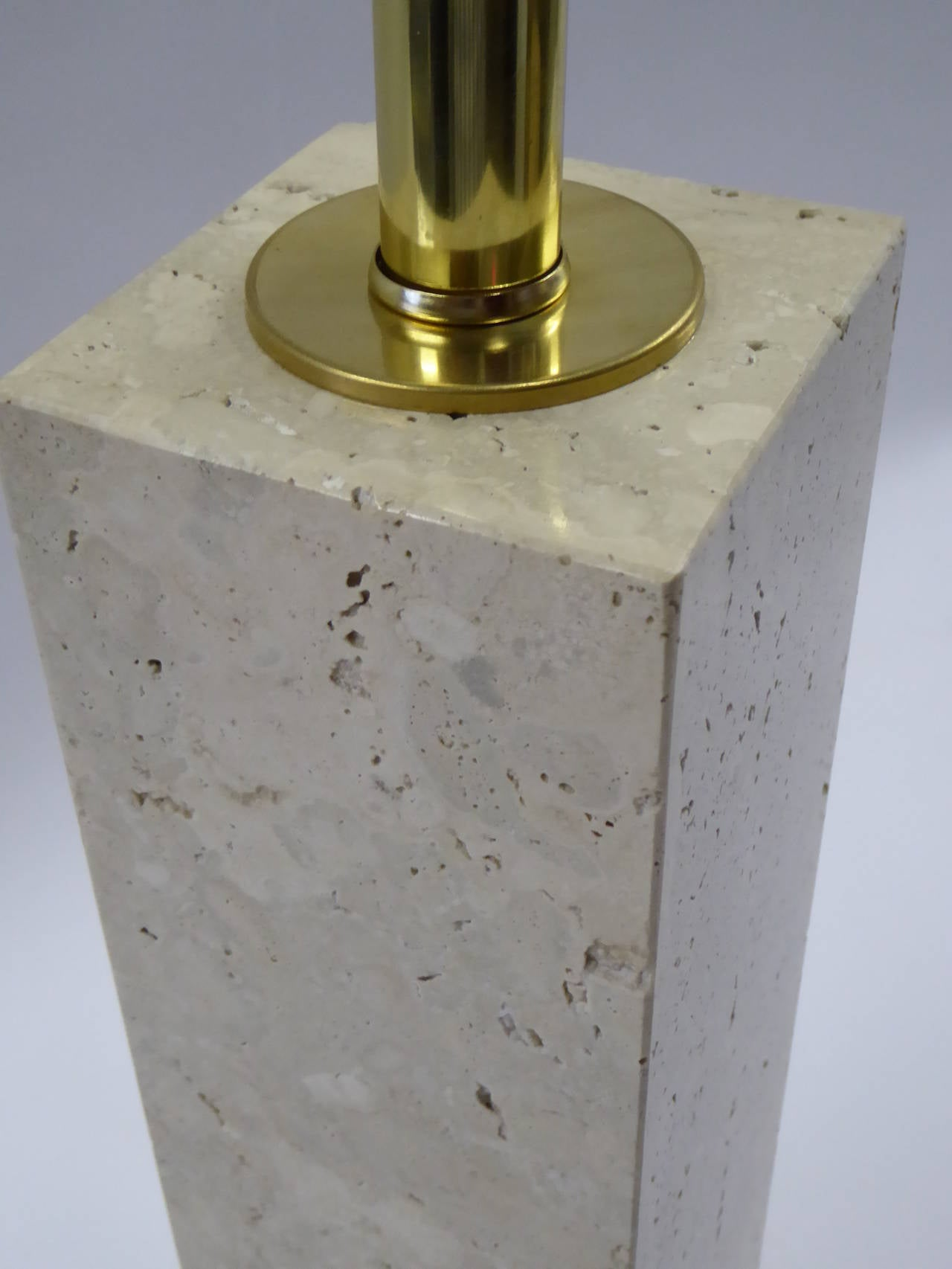 Mid-20th Century Robsjohn-Gibbings Style Travertine Marble Table Lamp For Sale