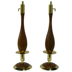 Pair of Fine Walnut and Brass Stylized Candlestick Table Lamps