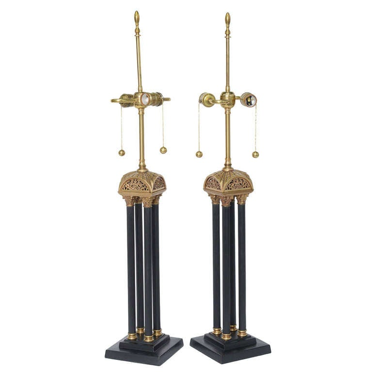 Exquisite Pair of Neoclassical Column Table Lamps For Sale