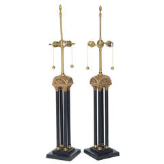 Exquisite Pair of Neoclassical Column Table Lamps