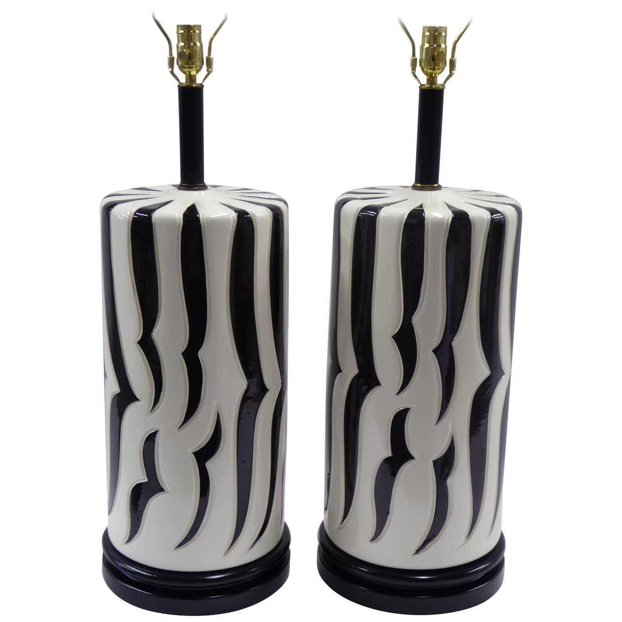 Monumental Tony Duquette Style Zebra Stripe Table Lamps For Sale