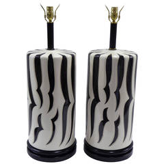 Monumental Tony Duquette Style Zebra Stripe Table Lamps