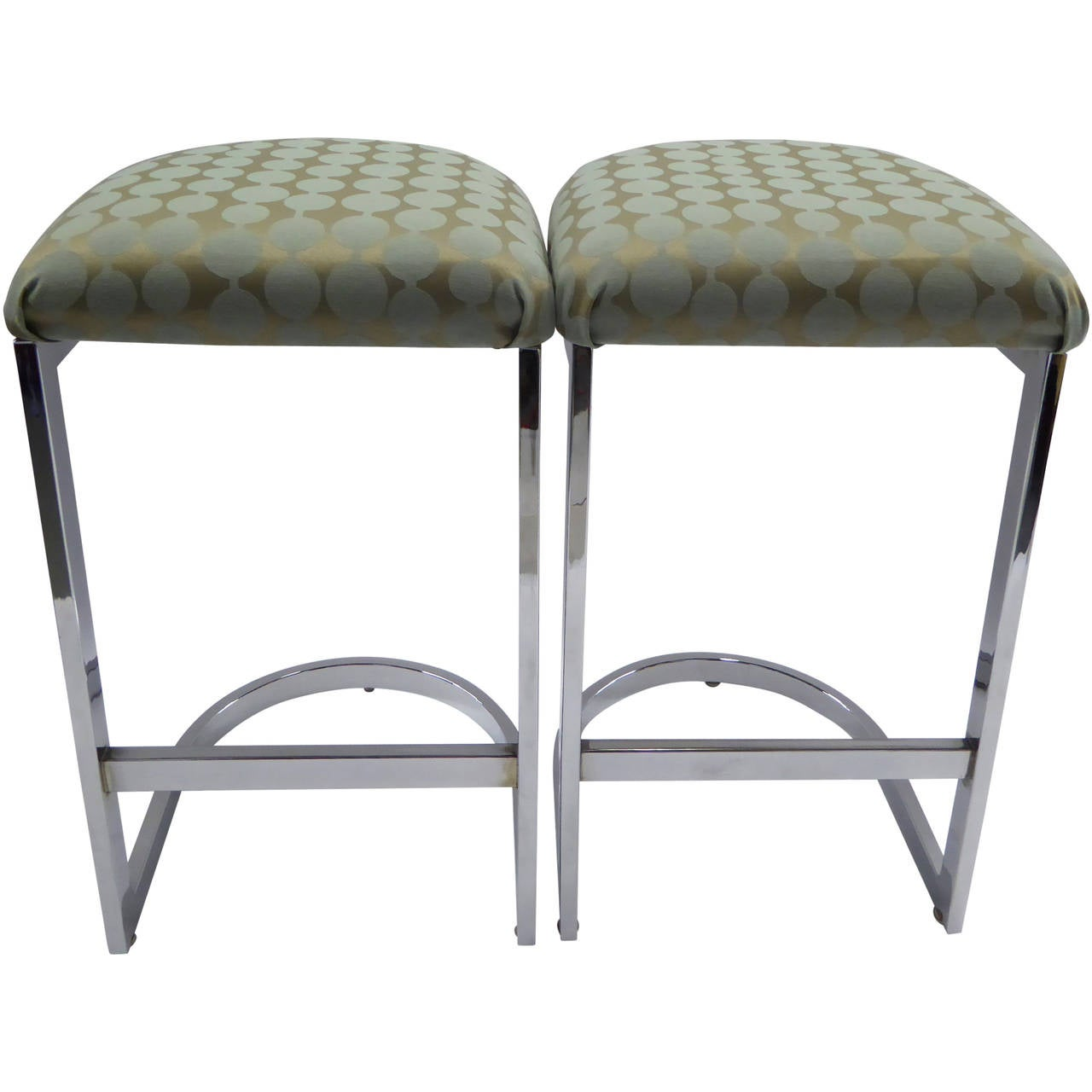 Pair Of Milo Baughman Chrome D Form Barstools At 1stdibs