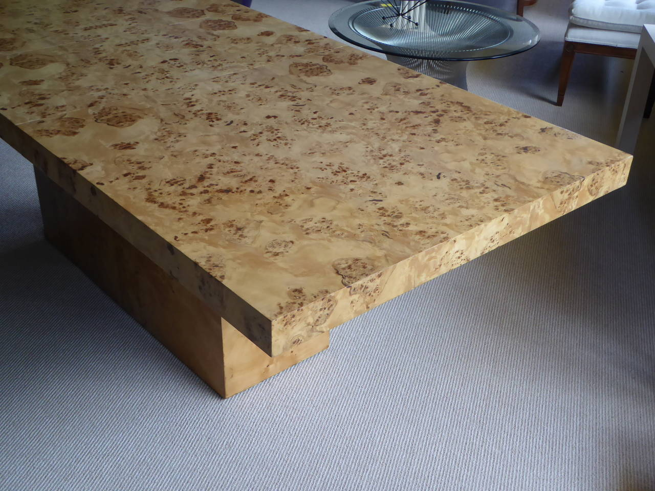 1970s Burl Olivewood Dining Table For Sale 1