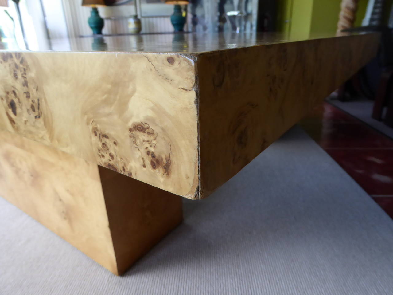 1970s Burl Olivewood Dining Table For Sale 3