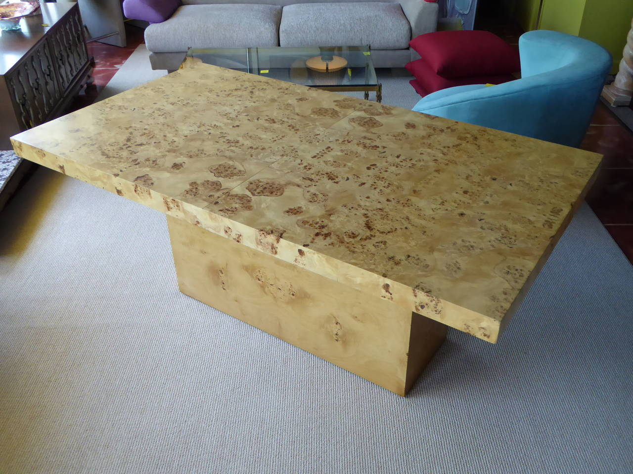 Mid-Century Modern 1970s Burl Olivewood Dining Table For Sale