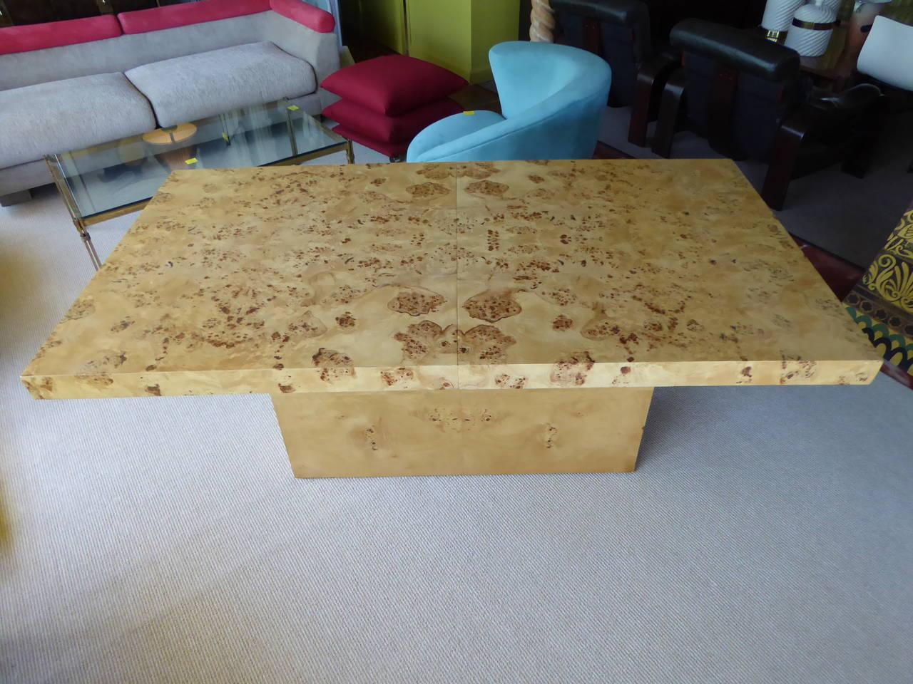 American 1970s Burl Olivewood Dining Table For Sale