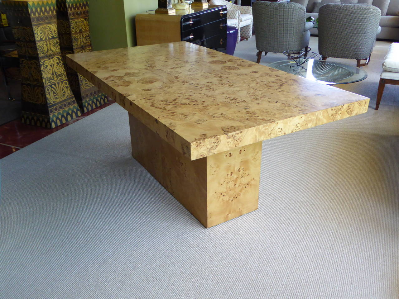 Late 20th Century 1970s Burl Olivewood Dining Table For Sale