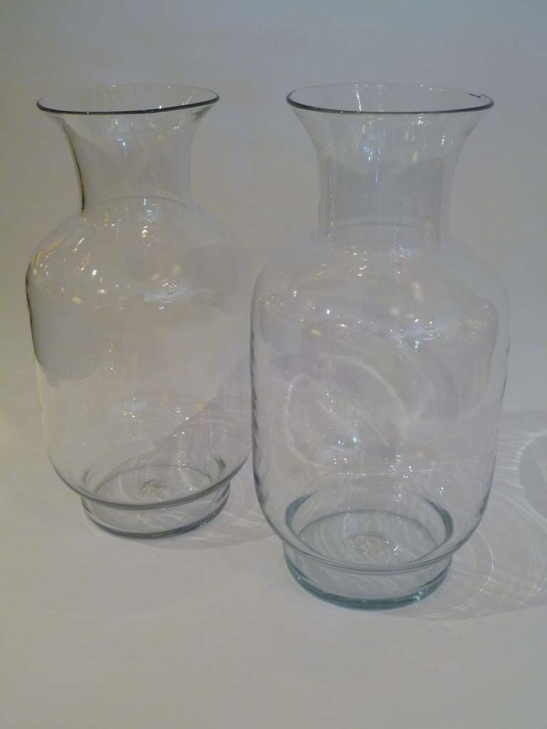 American Large Blenko Classic Urn Form Crystal Vases, 1970s For Sale