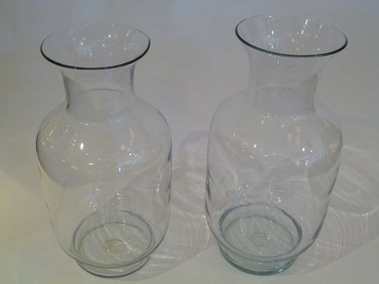 Late 20th Century Large Blenko Classic Urn Form Crystal Vases, 1970s For Sale