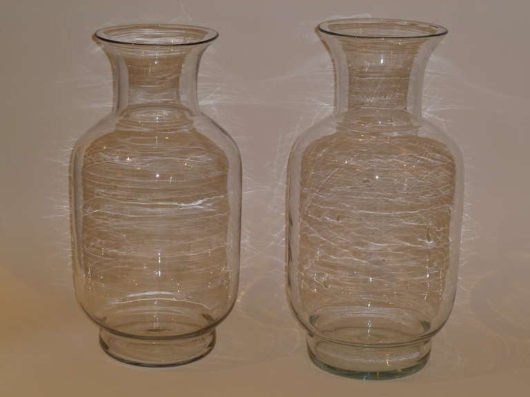 Large Blenko Classic Urn Form Crystal Vases, 1970s For Sale 4