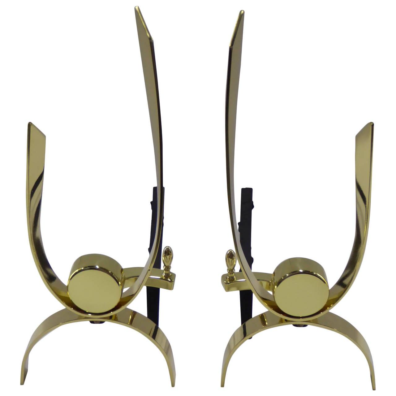 Donald Deskey Modernist Brass Andirons