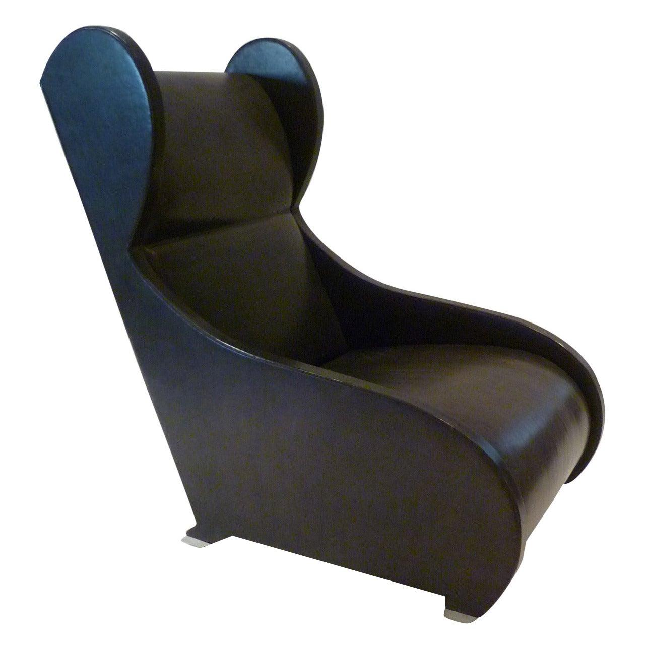 Modernist 1980 Pompeiian Wingback Lounge Chair by Stanley Jay Friedman
