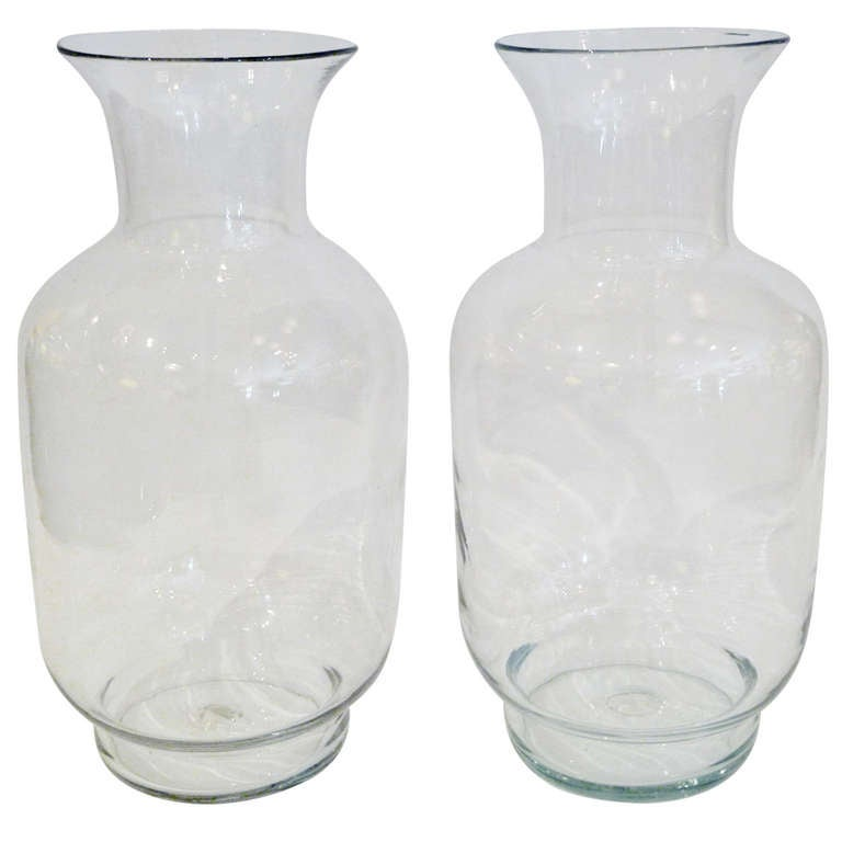 Large Blenko Classic Urn Form Crystal Vases, 1970s For Sale